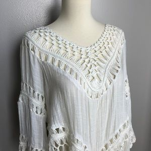 Tops - White Fringe Top